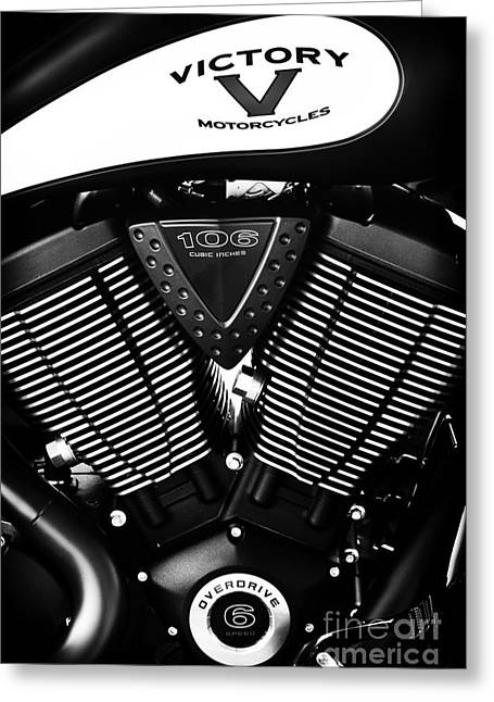 Victory Greeting Cards - Victory Motorcycle Monochrome Greeting Card by Tim Gainey