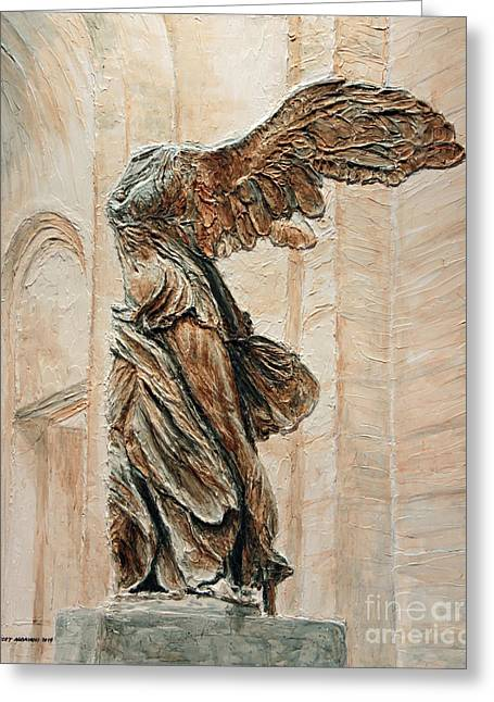 Nike Greeting Cards - Victory of Samothrace Greeting Card by Joey Agbayani