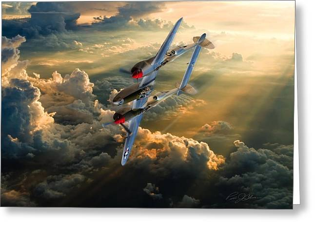 P-38 Greeting Cards - Victory Roll Greeting Card by Peter Chilelli