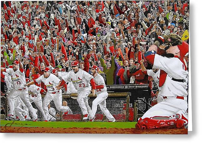 Sport Illustrations Mixed Media Greeting Cards - VICTORY - St Louis Cardinals win the World Series Title - Friday Oct 28th 2011 Greeting Card by Dan Haraga