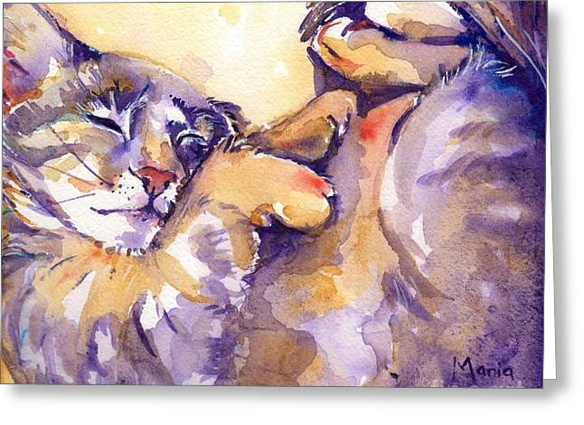 Feline Art Greeting Cards - Vida Greeting Card by Maria