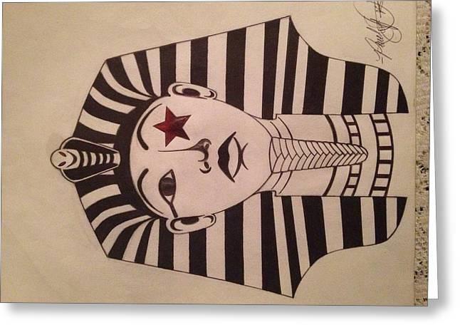 Pharaoh Drawings Greeting Cards - VIDA Pharaoh  Greeting Card by Reuel Paris