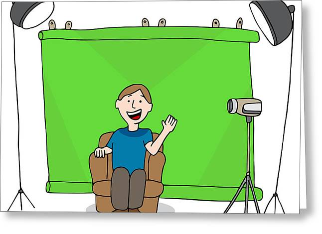 Recording Session Greeting Cards - Video Studio Session Greeting Card by John Takai
