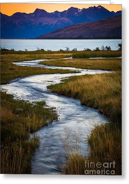 Lago Greeting Cards - Viedma Creek Greeting Card by Inge Johnsson