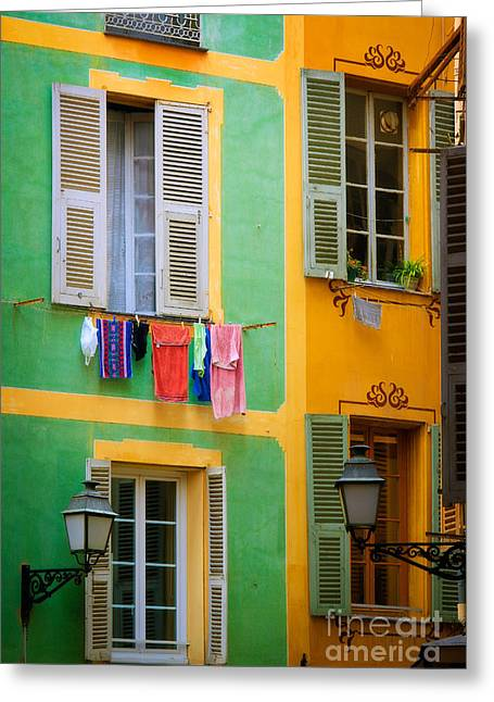 Azur Greeting Cards - Vieille Ville Windows Greeting Card by Inge Johnsson