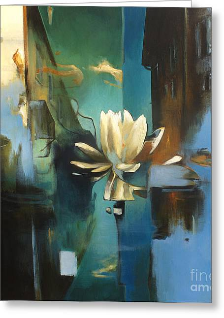 Water Lilly Greeting Cards - Vielle Ville Greeting Card by Lin Petershagen