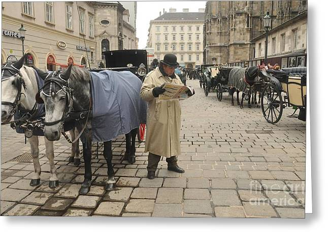 Urban Images Greeting Cards - Vienna - Hansom Driver Taking a Break Greeting Card by Anthony Morretta