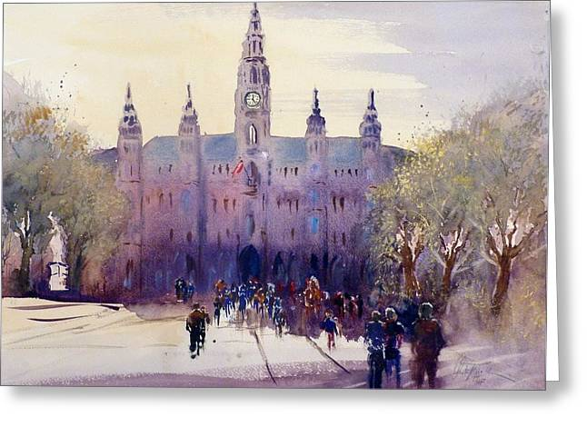 Cityhall Paintings Greeting Cards - Vienna City Hall Greeting Card by Christa Friedl
