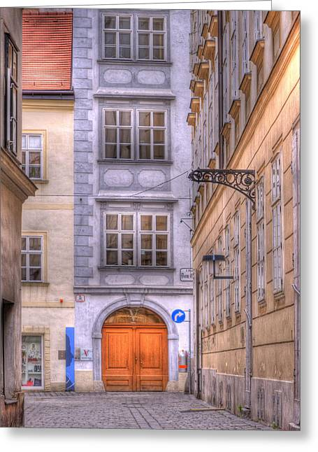 Mozart Greeting Cards - VIENNA  Mozarthaus Greeting Card by Juli Scalzi