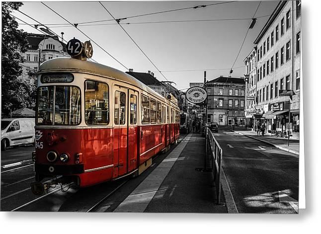 Schienen Greeting Cards - Vienna - Tramway Colourkey Greeting Card by Jean Claude Castor