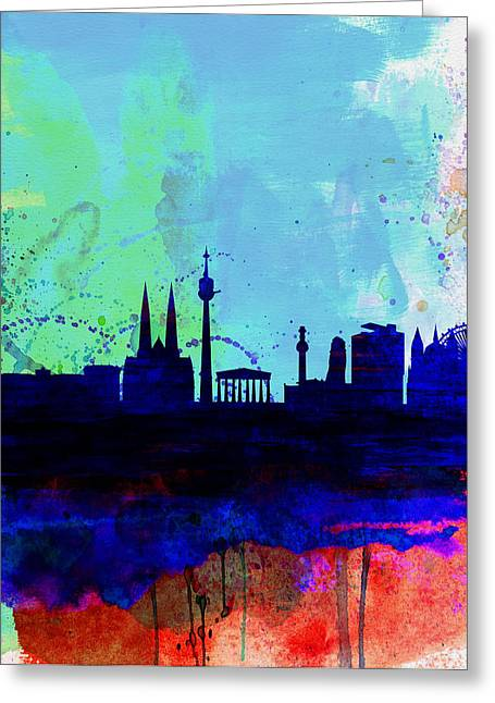 Austria Greeting Cards - Vienna Watercolor Skyline Greeting Card by Naxart Studio