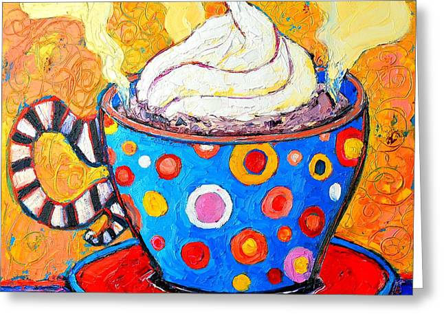 Ceramic Greeting Cards - Viennese Cappuccino Whimsical Colorful Coffee Cup Greeting Card by Ana Maria Edulescu