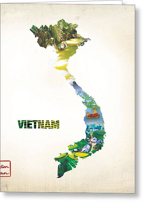 Hoa Greeting Cards - Map of Viet Nam 2 Greeting Card by To-Tam Gerwe