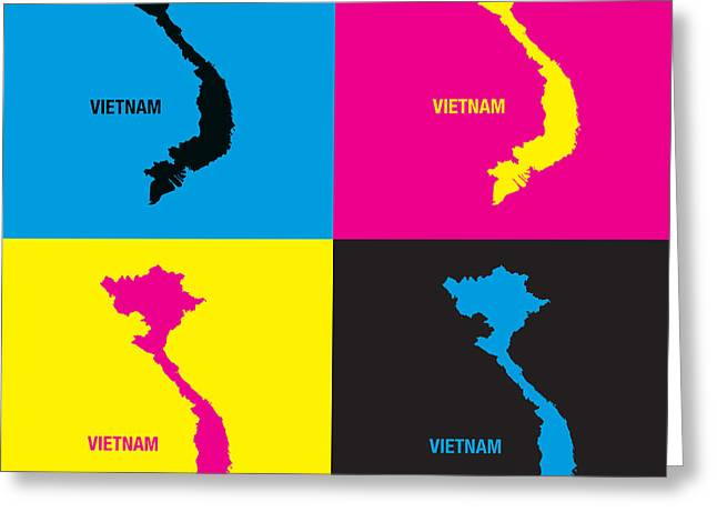 Hoa Greeting Cards -  Viet Nam Map Pop Art Greeting Card by To-Tam Gerwe