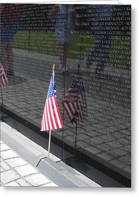 1960 Greeting Cards - Vietnam Memorial Wall Greeting Card by Linda Allasia