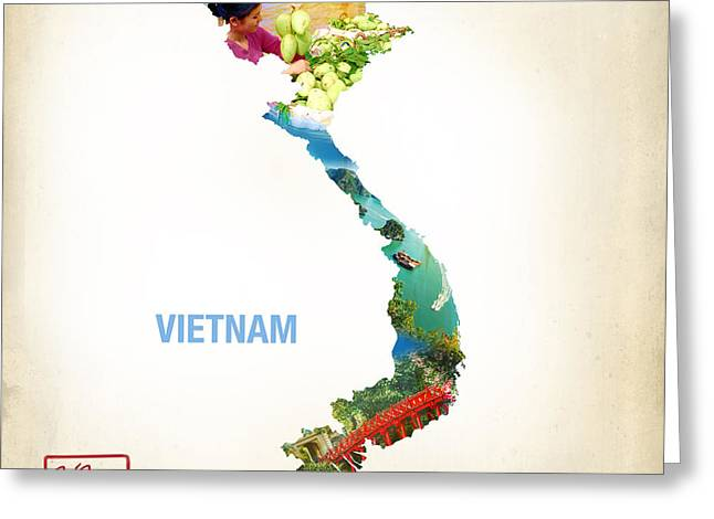 Hoa Greeting Cards - Map of Viet-Nam  Greeting Card by To-Tam Gerwe