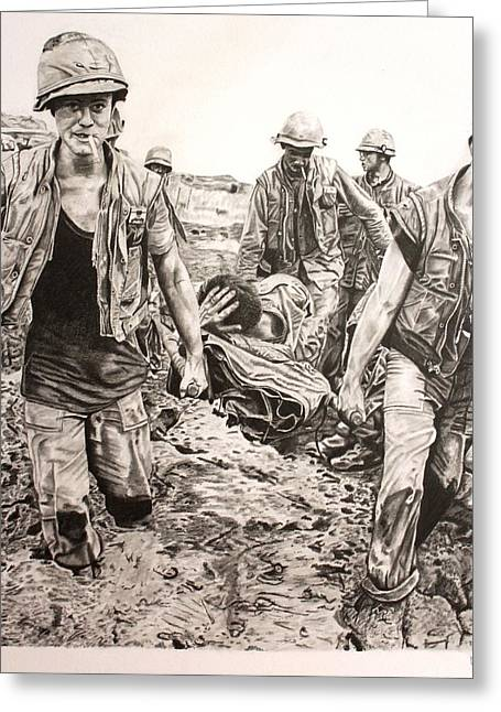 Gi Drawings Greeting Cards - Vietnam - Saving the Wounded Greeting Card by Randy Mitchell