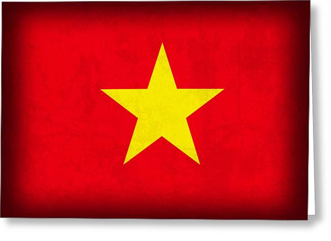 Vietnamese Greeting Cards - Vietnam Flag Distressed Vintage Finish Greeting Card by Design Turnpike