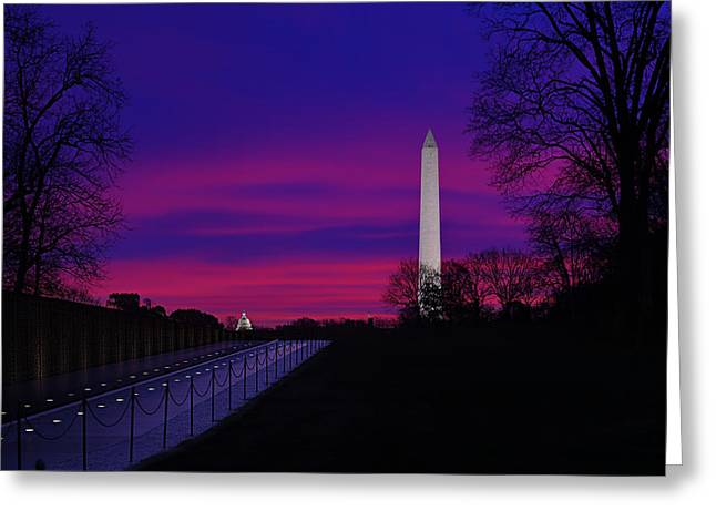 Capitol Building Greeting Cards - Vietnam Memorial Sunrise Greeting Card by Metro DC Photography