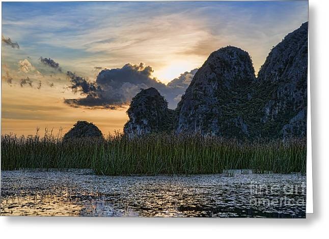 Binh Greeting Cards - Vietnam Van Long Nature Greeting Card by Chuck Kuhn