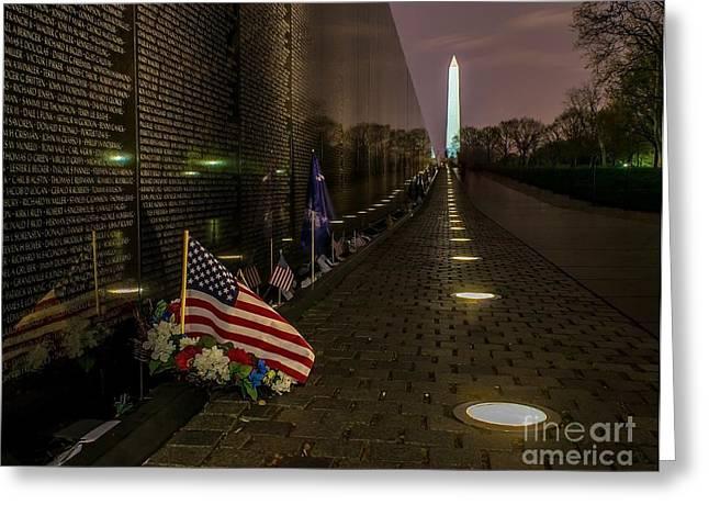 Patrotic Greeting Cards - Vietnam Veterans Memorial at Night Greeting Card by Nick Zelinsky