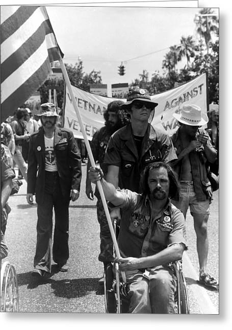 Republican Greeting Cards - Ron Kovic - Vietnam Vets agains the war Greeting Card by Daniel Gomez