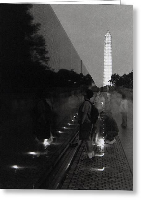 Observer Greeting Cards - Vietnam Wall at Night Greeting Card by Gary Auerbach