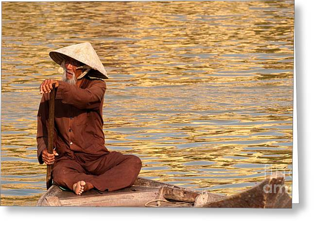 Boatman Greeting Cards - Vietnamese Boatman 01 Greeting Card by Rick Piper Photography