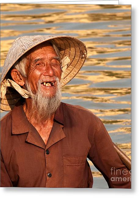 Boatman Greeting Cards - Vietnamese Boatman 02 Greeting Card by Rick Piper Photography
