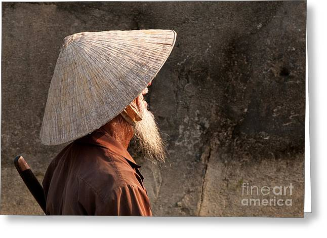 Boatman Greeting Cards - Vietnamese Boatman 04 Greeting Card by Rick Piper Photography