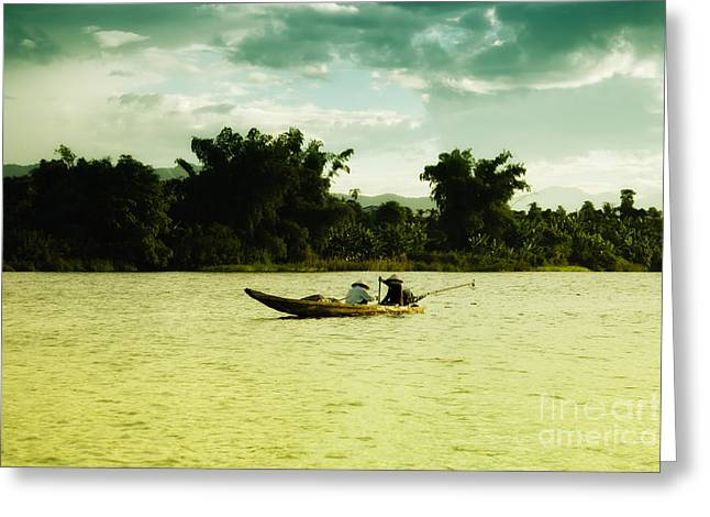 Canoe Greeting Cards - Vietnamese fishermen Greeting Card by Fototrav Print