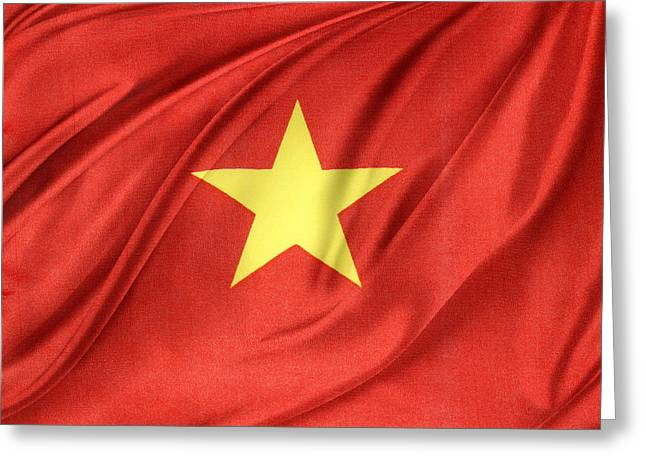 Vietnamese Greeting Cards - Vietnamese flag Greeting Card by Les Cunliffe