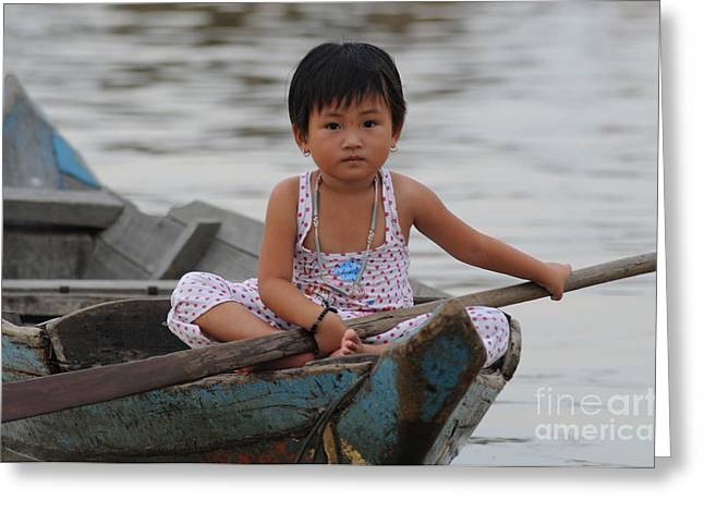 Floating Girl Greeting Cards - Vietnamese Girl on Lake Tonle Sap Greeting Card by Vivian Christopher