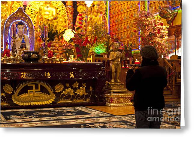 Burning Statue Greeting Cards - Vietnamese Temple Greeting Card by Jim Corwin
