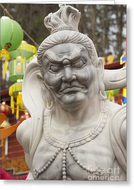 Burning Statue Greeting Cards - Vietnamese Temple Statue Greeting Card by Jim Corwin