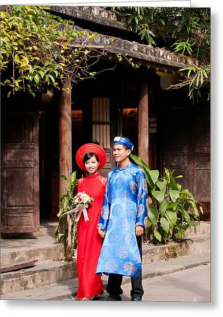 Southeast Asian Greeting Cards - Vietnamese Wedding Couple 01 Greeting Card by Rick Piper Photography