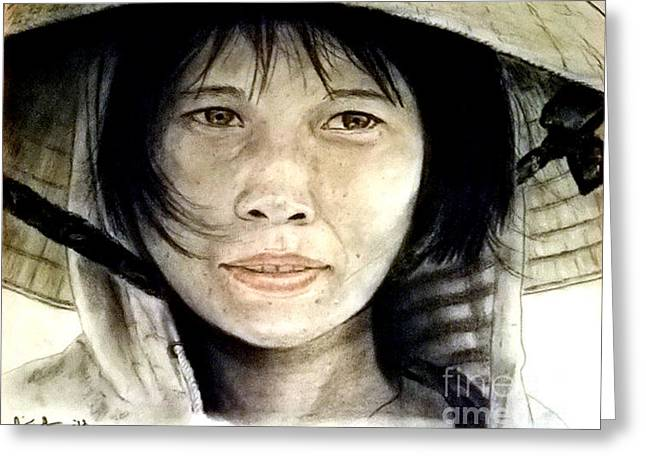 Straps Greeting Cards - Vietnamese Woman wearing a Conical Hat Greeting Card by Jim Fitzpatrick