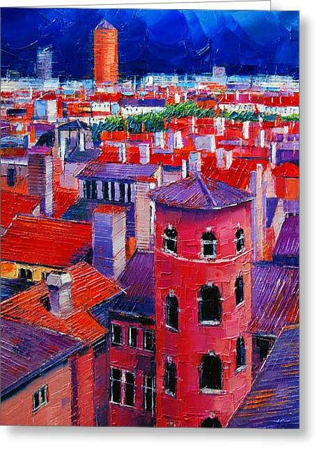 Contemporary Oil Greeting Cards - Vieux Lyon Rooftops  Greeting Card by Mona Edulesco