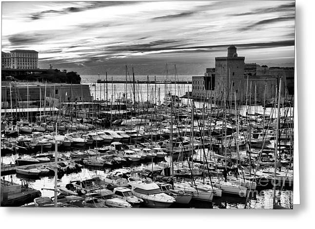 Azur Greeting Cards - Vieux Port at Night bw Greeting Card by John Rizzuto