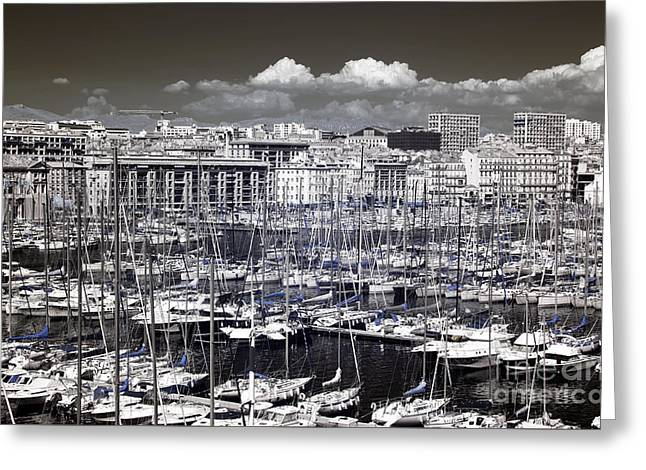 Vieux Port Clouds Greeting Card by John Rizzuto