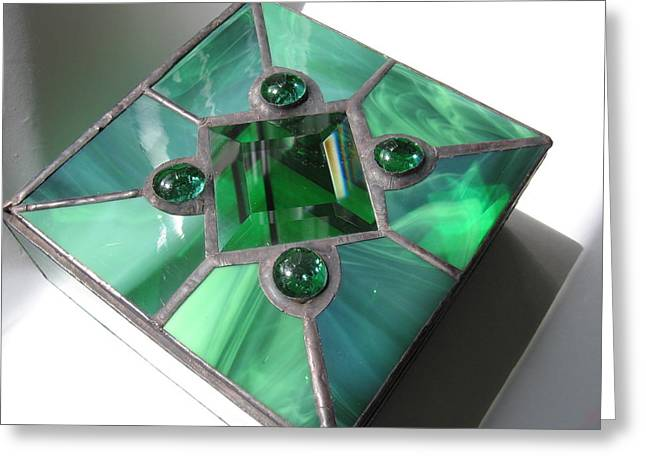 Jewelry Glass Art Greeting Cards - View # 2 Emerald Green Stained Glass Jewelry Keepsake Box Greeting Card by Wendy Wehe-Ballone