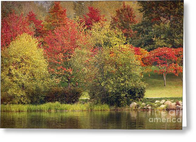Man-made Lake Greeting Cards - View Across LaFarge Lake with Texture Greeting Card by Sharon  Talson