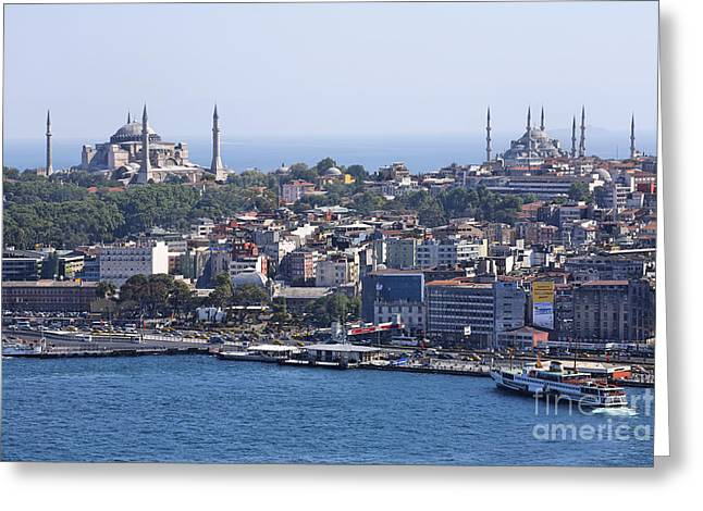 View Across The Bosphorus To The Hagia Sophia And The Blue Mosque Greeting Card by Robert Preston