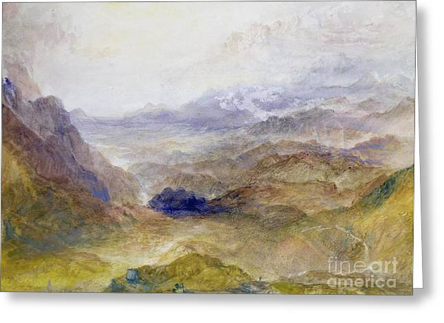 Alp Greeting Cards - View along an Alpine Valley Greeting Card by Joseph Mallord William Turner