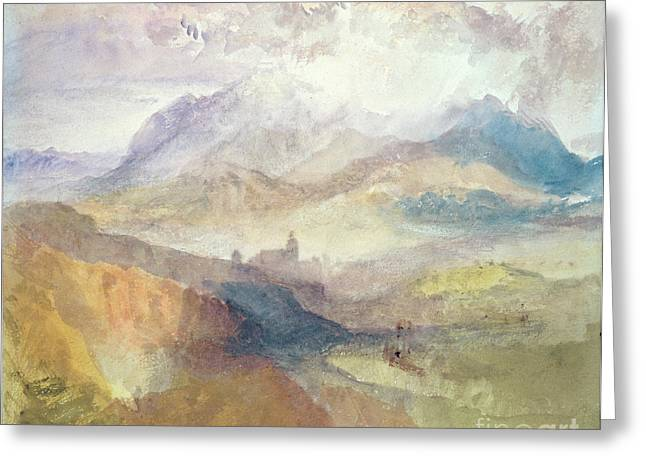 View Along An Alpine Valley Possibly The Val D'aosta Greeting Card by Joseph Mallord William Turner