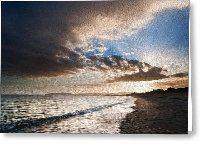 Colorful Cloud Formations Greeting Cards - View along coast into beautiful setting sun digital painting Greeting Card by Matthew Gibson