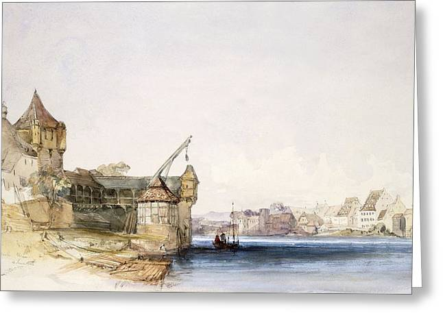 Switzerland Drawings Greeting Cards - View At Basle, 1842 Greeting Card by John Harper