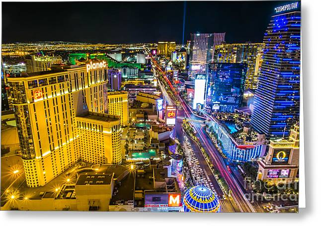 Planet Money Greeting Cards - View at South strip Las Vegas Boulevard Greeting Card by Andre Babiak