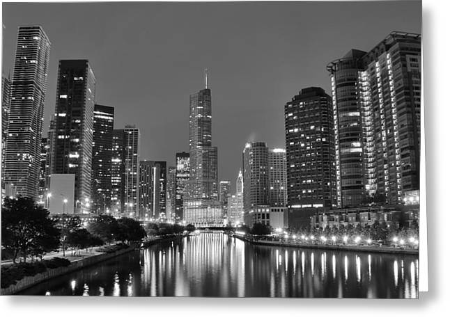 New York Tribune Greeting Cards - View Down the Chicago River Greeting Card by Frozen in Time Fine Art Photography