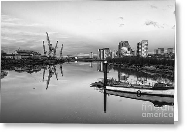 Scotland Landscape Prints Greeting Cards - View down the Clyde mono Greeting Card by John Farnan